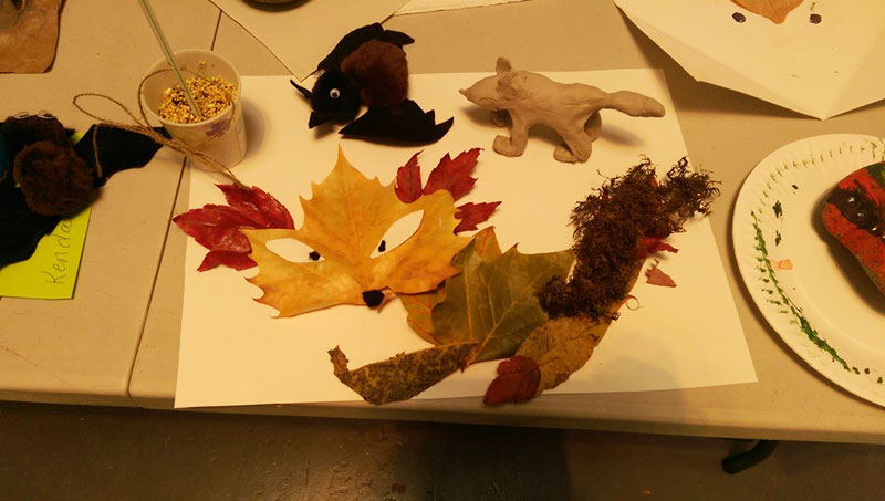 Craft Day at day camp: leaf fox, brown bat, clay fox and bird seed cake in a cup (all made by Sofia, age 9)